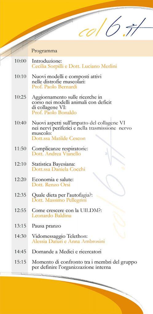 Collagene VI Italia quarto incontro Bologna Bethlem Ullrich